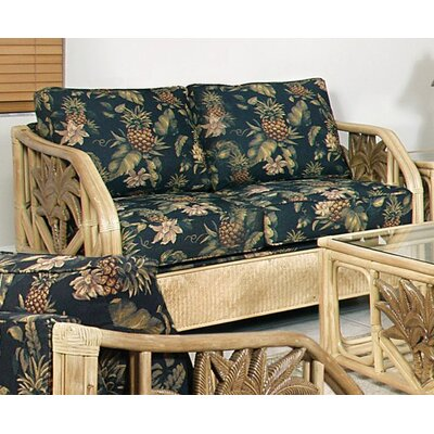 Cypress Upholstered Rattan Loveseat in Natural Finish Fabric: Resort Life Multi
