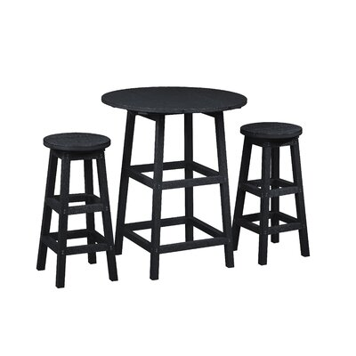 Alanna 3 Piece Pub Set Finish: Black