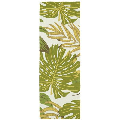 Brianna Handmade Green/White Indoor/Outdoor Area Rug Rug Size: Runner 2 x 6
