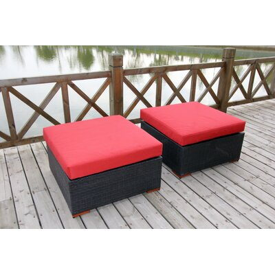 Scholtz Ottoman with Cushion Fabric Color: Red