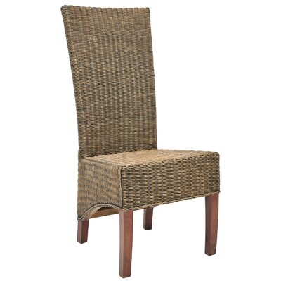 Prestwick Wicker Solid Wood Dining Chair Finish: Honey Black Wash