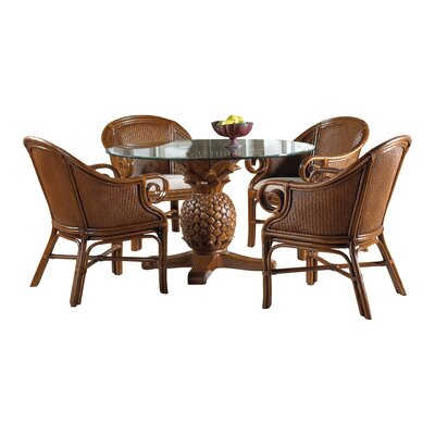 Cypress 5 Piece Dining Set Cushion Color: Champagne