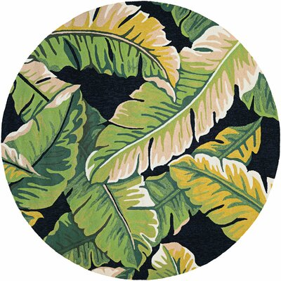 Amberjack Rainforest Forest Hand-Woven Green/Black Indoor/Outdoor Area Rug Rug Size: Round 7'10