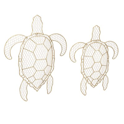 2 Piece Tortuga Wire Turtle Wall Decor Set