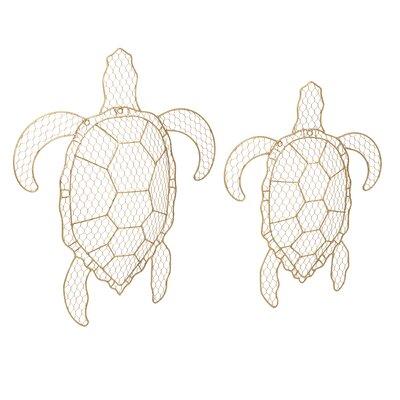 2 Piece Tortuga Wire Turtle Wall Decor Set