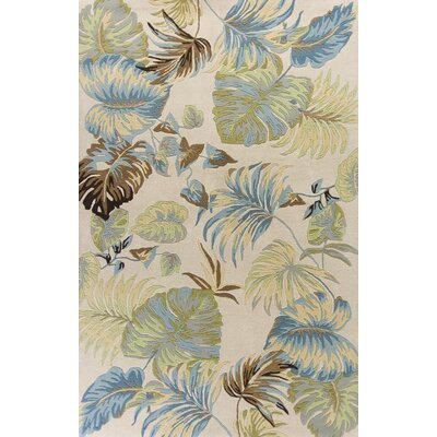 Antigua Hand-Tufted Ivory/Blue Area Rug Rug Size: 33 x 53