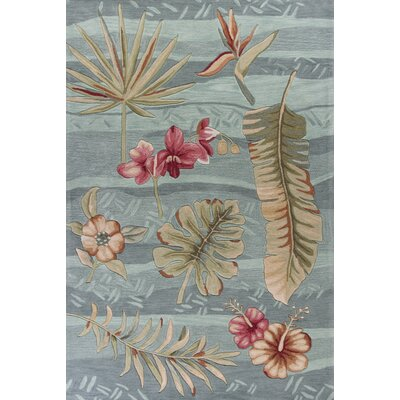 Agios Hand-Tufted Seafoam Blue/Pink Area Rug Rug Size: 33 x 53