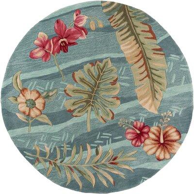 Cheyenne Hand-Tufted Seafoam Blue/Pink Area Rug Rug Size: Round 56