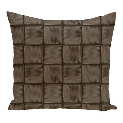 Brisa Basketweave Geometric Outdoor Throw Pillow Color: Brown