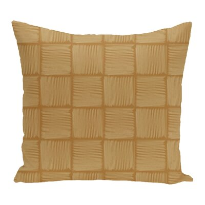 Brisa Basketweave Geometric Outdoor Throw Pillow Color: Gold
