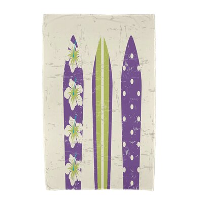 Triple Surf Geometric Print Beach Towel Color: Purple