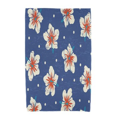 Hibiscus Blooms Floral Print Beach Towel Color: Blue