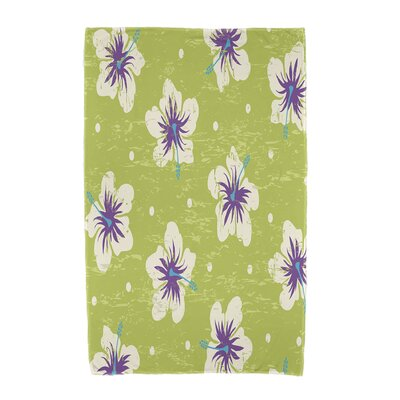 Hibiscus Blooms Floral Print Beach Towel Color: Light Green