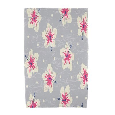 Hibiscus Blooms Floral Print Beach Towel Color: Gray