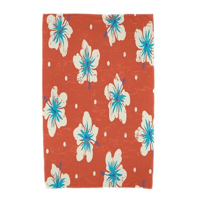 Hibiscus Blooms Floral Print Beach Towel Color: Orange