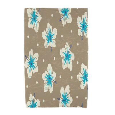 Hibiscus Blooms Floral Print Beach Towel Color: Beige/Taupe