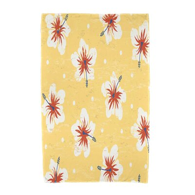Hibiscus Blooms Floral Print Beach Towel Color: Yellow