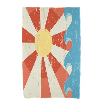 Sunbeams Geometric Print Beach Towel Color: Orange
