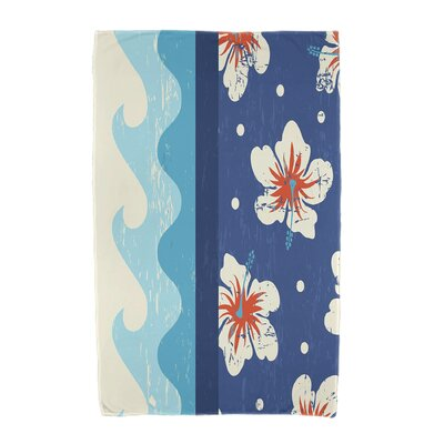 Floral Print Beach Towel Color: Blue