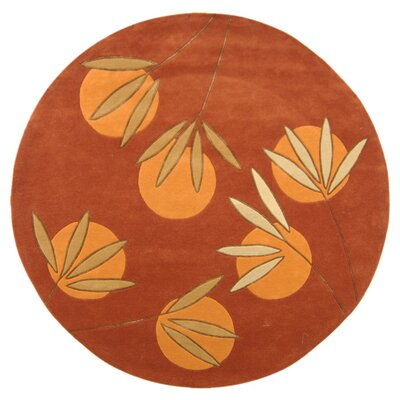 Felton Hand-Tufted Rust Area Rug Rug Size: Round 6