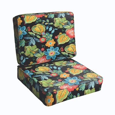 2 Piece Outdoor Chair Cushion Set Color: Black