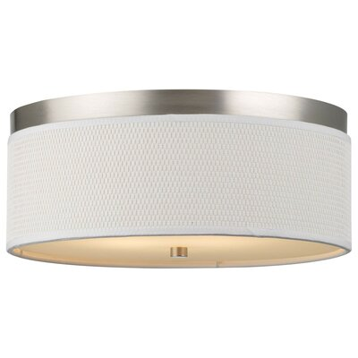 Mccoy 2-Light Flush Mount Shade Color: White Grasscloth, Size: 6 H x 20.5 W, Bulb Type: Fluorescent