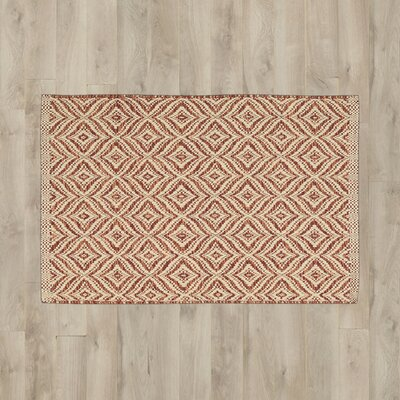 Antigua Red/Cream Area Rug Rug Size: 2'6 x 4'