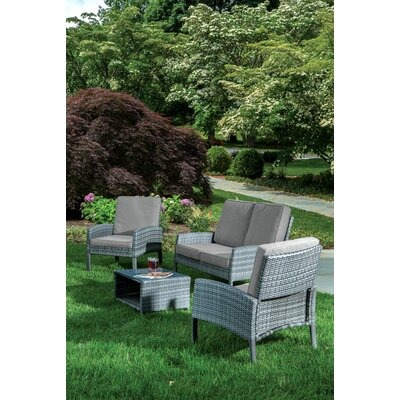 Woodrose 4 Piece Deep Seating Group with Cushion