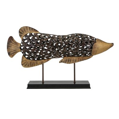 Metal Fish on Stand Figurine