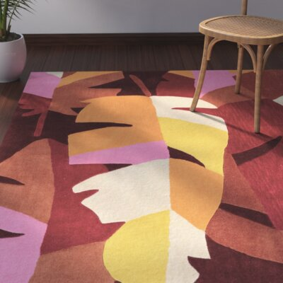 Kimana Hand-Tufted Red/Brown/Pink Area Rug Rug Size: 110 x 210