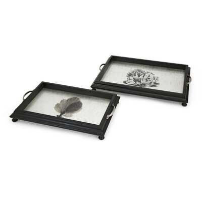Black 2 Piece Coral Decorative Trays