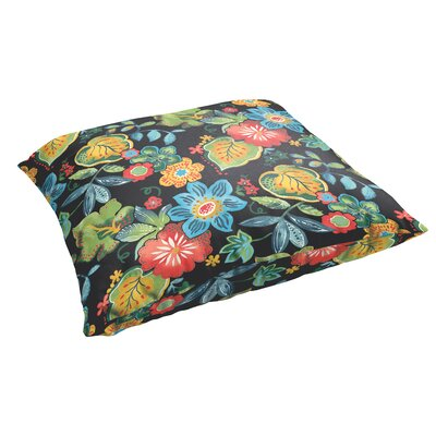 Mira Floral Floral Indoor/Outdoor Floor Pillow Color: Black