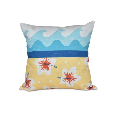 Golden Beach Floral Outdoor Throw Pillow Size: 18 H x 18 W, Color: Yellow