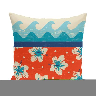 Golden Beach Floral Throw Pillow Size: 16 H x 16 W, Color: Orange
