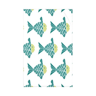 Grand Ridge Fish Tales Coastal Fleece Throw Blanket Size: 60 L x 50 W x 0.5 D, Color: Teal