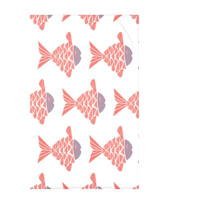 Grand Ridge Fish Tales Coastal Fleece Throw Blanket Size: 60 L x 50 W x 0.5 D, Color: Coral