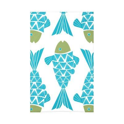 Grand Ridge Big Fish Coastal Fleece Throw Blanket Size: 60 L x 50 W x 0.5 D, Color: Turquoise