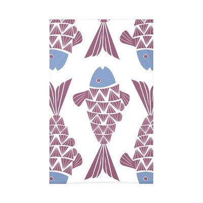 Grand Ridge Big Fish Coastal Fleece Throw Blanket Size: 60 L x 50 W x 0.5 D, Color: Purple
