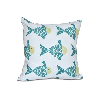 Grand Ridge Fish Tales Coastal Outdoor Throw Pillow Size: 18 H x 18 W, Color: Teal