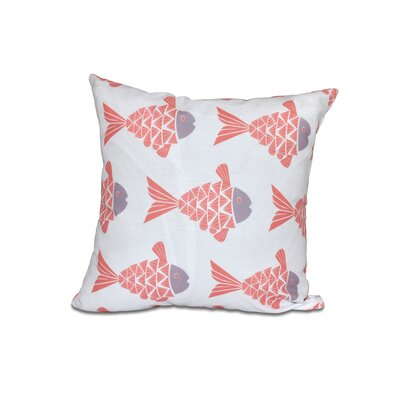 Grand Ridge Fish Tales Coastal Outdoor Throw Pillow Size: 16 H x 16 W, Color: Coral