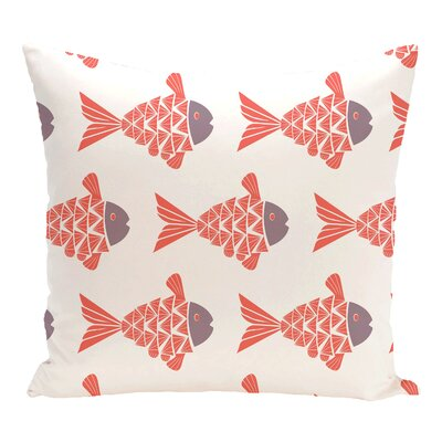 Grand Ridge Fish Tales Coastal Throw Pillow Size: 26 H x 26 W, Color: Coral