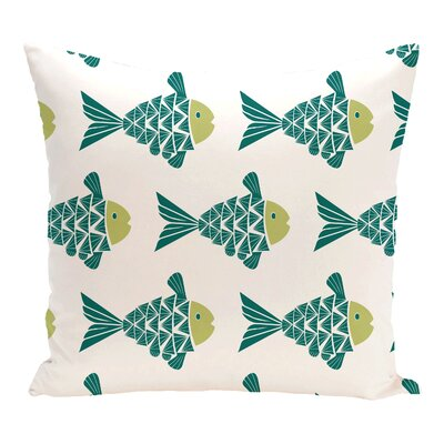 Grand Ridge Fish Tales Coastal Throw Pillow Color: Teal, Size: 18