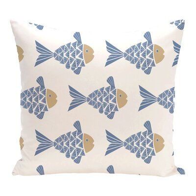 Grand Ridge Fish Tales Coastal Throw Pillow Size: 16 H x 16 W, Color: Blue