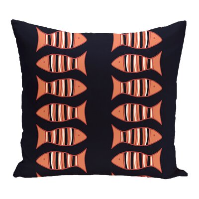 Grand Ridge Somethings Fishy Coastal Throw Pillow Size: 16 H x 16 W, Color: Navy Blue