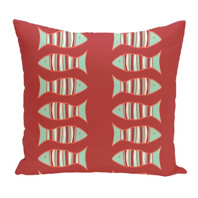 Grand Ridge Somethings Fishy Coastal Throw Pillow Size: 18 H x 18 W, Color: Coral