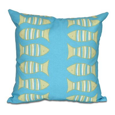 Grand Ridge Somethings Fishy Coastal Throw Pillow Size: 20 H x 20 W, Color: Turquoise