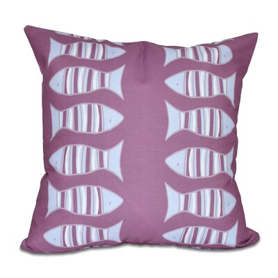 Grand Ridge Somethings Fishy Coastal Throw Pillow Size: 20 H x 20 W, Color: Purple