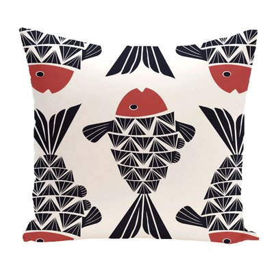 Grand Ridge Big Fish Coastal Outdoor Throw Pillow Color: Navy Blue, Size: 16 H x 16 W