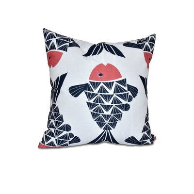 Grand Ridge Big Fish Coastal Outdoor Throw Pillow Size: 18 H x 18 W, Color: Navy Blue