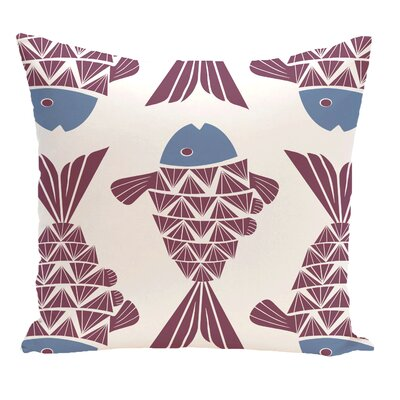 Grand Ridge Big Fish Coastal Outdoor Throw Pillow Size: 20 H x 20 W, Color: Purple